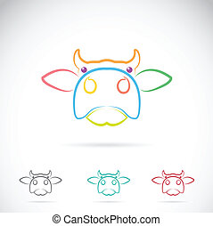 Vector image of an cow face on white background