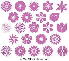 flower set - A collection of flowers for the design.