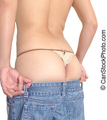 Woman showing ass in G-string and jeans - Woman showing ass...