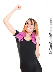 Portrait of successful winner celebrating by dancing. Beautiful young happy woman isolated on white