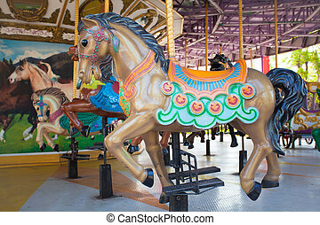 Carousel Horses at Siam park city , one of most famous...