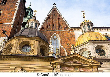 Closeup Wawel Cathedral in Kracow, Poland