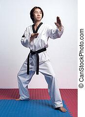 Taekwondo man practicing in gym