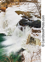 Winter Waterfall - Indianas Upper Cataract Falls becomes a...