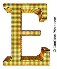 Rich Golden Cube Alphabet - E - Graphical rich golden cube...