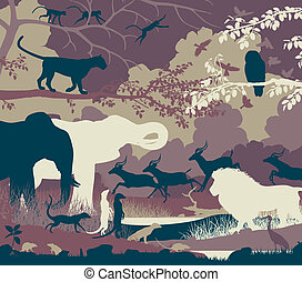 Jungle - Colorful editable vector illustration of wildlife...