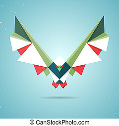 Colourful origami pigeon or dove made of folded paper in the...
