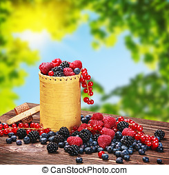 blackberries, raspberries, red currants and blueberries in a basket on the table