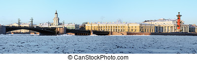 panorama of the arrow Vasilyevsky island and palace bridge early winter morning in St. Petersburg. Russia. Panorama stitched from 8 horizontal frames.