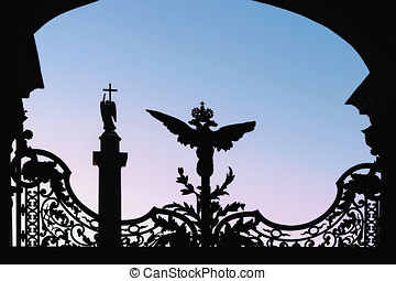 silhouette of the Hermitage and attractions in St. Petersburg