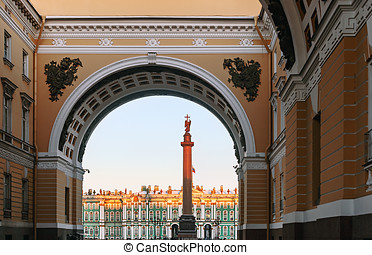 Winter Palace view through Senate Arch at dawn, St...