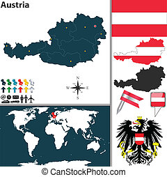 Map of Austria - Vector map of Austria with regions, coat of...