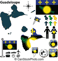 Map of Guadeloupe - Vector of Guadeloupe set with detailed...