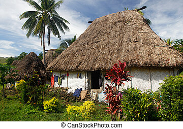 Traditional house of Navala village, Viti Levu, Fiji -...