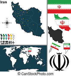 Map of Iran - Vector map of Iran with regions, coat of arms...