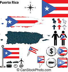 Map of Puerto Rico - Vector of Puerto Rico set with detailed...