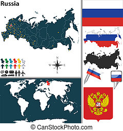 Map of Russia - Vector map of Russia with regions, coat of...