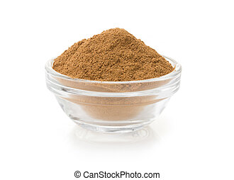 cinnamon in bowl on white - cinnamon in bowl isolated on...