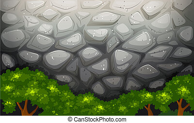 A high stonewall with trees - Illustration of a high...