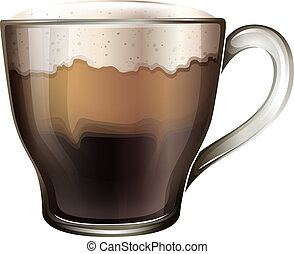 A mug of coffee - Illustration of a mug of coffee on a white...