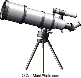 A telescope - Illustration of a telescope on a white...