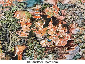 Thai mural painting, Thailand - Thai mural painting inside...