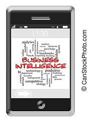 Business Intelligence Word Cloud Concept on Touchscreen...