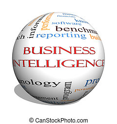 Business Intelligence 3D sphere Word Cloud Concept with...