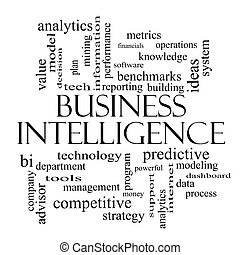 Business Intelligence Word Cloud Concept in black and white...
