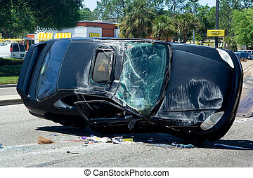 Auto Accident - Traffic Accident Resulting in a Crushed Car
