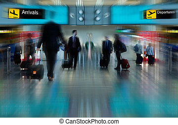 Airline Passengers - Business People at the Airport Moving...