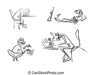 men-emosion_013 - Graphic outline sketches of programmers...