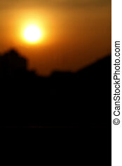Sun light effect over village (Silhouettes)