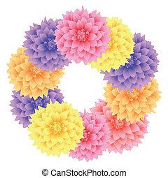 Vector wreath dahlia flowers.