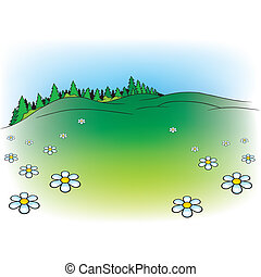Meadow And Forest - Mountain Meadow And Forest - Cartoon...