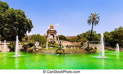 Cascada fountain in Barcelona in summer day Catalonia, Spain...