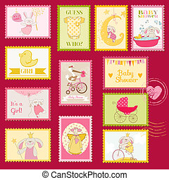 Baby Shower or Arrival Postage Stamps - for design and...
