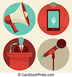 Vector conference icons in flat style - megaphone and...