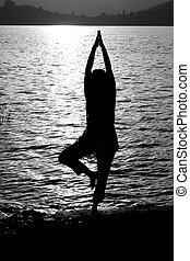 Yogic Prayer - A beautiful background with a silhouette of...