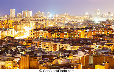 night view of Barcelona, Spain - night view of Badalona from...