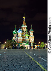 Red Square in night Moscow, Russia - Intercession Cathedral...
