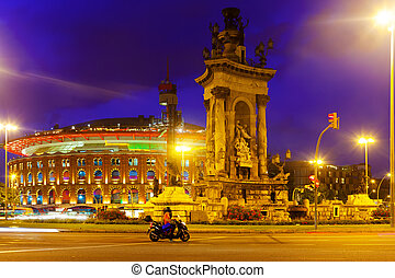 Spain square at Barcelona in night time - View of Spain...