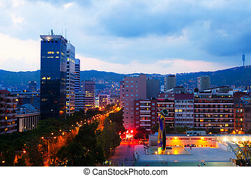 residential district at Barcelona in evening, Spain