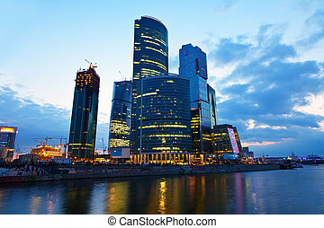 Moscow business centre in summer morning