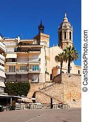 Church of Sant Bartomeu i Santa Tecla in Sitges, Catalonia...