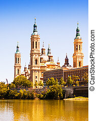Basilica of Our Lady of the Pillar from Ebro river Zaragoza
