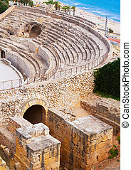 Old Roman amphitheater at Mediterranean - Old Roman...
