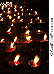 Diwali Tradition - Wax lamps traditionally lit in an...