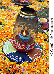 Traditional Diwali Lamp - A traditional colorful lamp lit on...