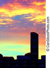 High-rise building at daybreak - High-rise building in...